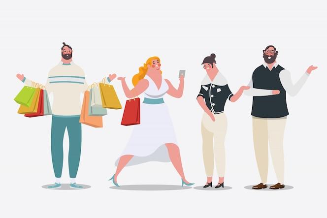 漫画のキャラクターデザインのイラスト。ショッピングバッグを持っている女性が店内を歩いています。男性はショッピングバッグを運ぶ。