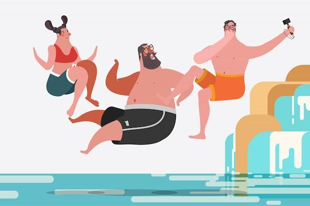 漫画のキャラクターデザインのイラスト。十代の男の子、女の子、飛び跳ねる滝