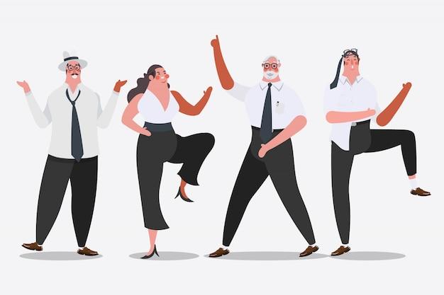 漫画のキャラクターデザインのイラスト。パーティーでビジネスチームダンス成功を祝う