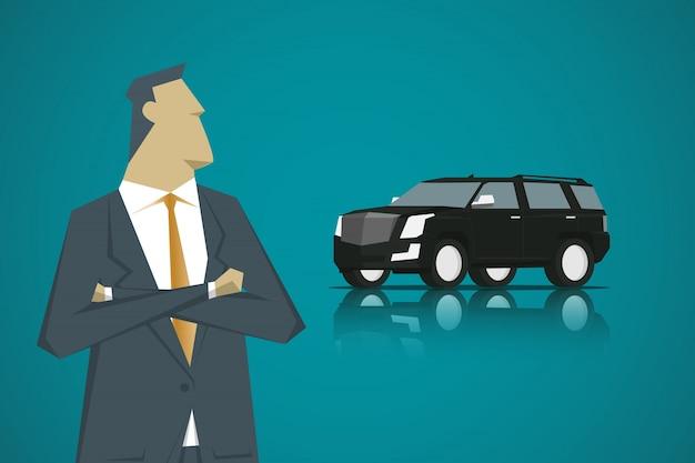 スマートな男とスマートカー、漫画のキャラクターデザインフラットスタイル