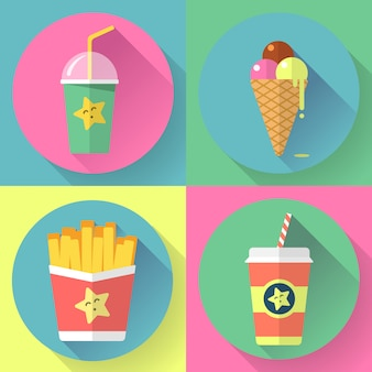 Набор иконок быстрого питания красочные плоский дизайн. элементы шаблона для веб-сайтов и мобильных устройств