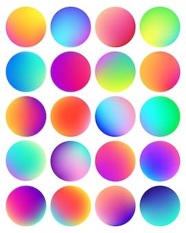 丸みを帯びたホログラフィックグラデーション球ボタン。