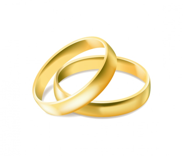 Два золотых обручальных кольца