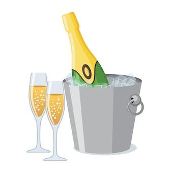 Два бокал шампанского и бутылка шампанского в ведро льда значок в плоский.