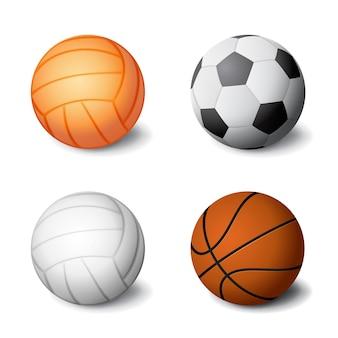Реалистичные спортивные мячи установить значок