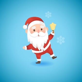 Рождество смешной санта-клаус, держа колокол золото, векторные иллюстрации.