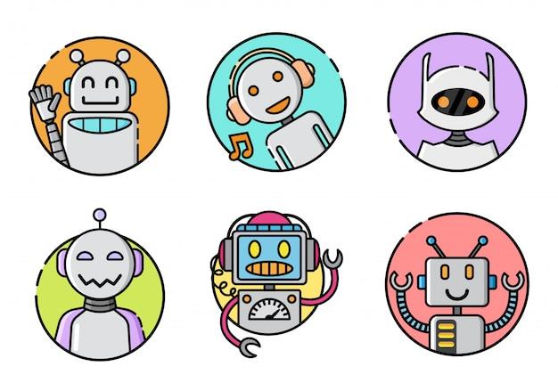 Набор круглых значков роботов