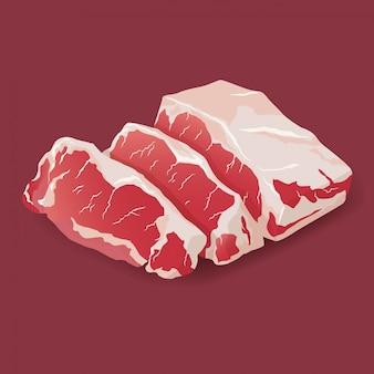 生の新鮮な肉ビーフステーキ白で隔離。新鮮な肉のアイコン