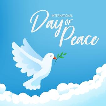 Международный плакат знамени дня мира с белой птицей и оливковой веткой в ясном голубом небе, иллюстрации.