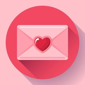Конверт с сердцем розовый красный значок, с днем святого валентина любовное письмо, любовное послание,