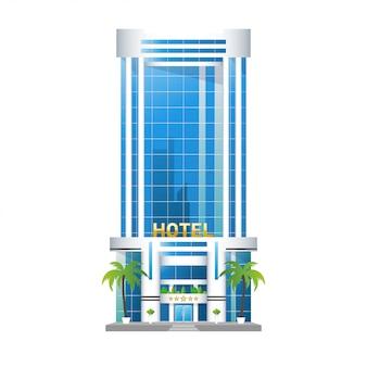 モダンなホテルの建物、ヤシの木と高層ビルの塔は隔離された図です。