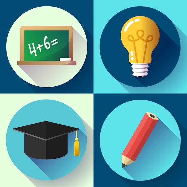 教育セット。電球、鉛筆、卒業帽子、スレート、