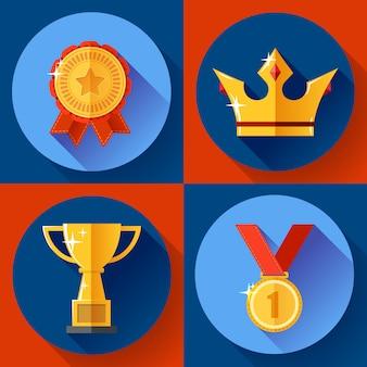 黄金の勝利のシンボルチャンピオンカップ、クラウン、メダル、バッジを設定します。フラットなデザイン。
