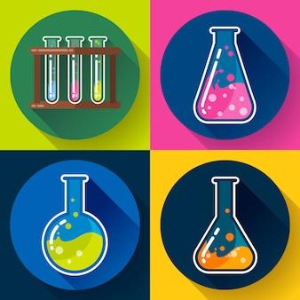 Набор химических лабораторных колб. плоский дизайн стиль.