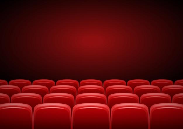 赤い座席、ショータイムイラストの映画館。