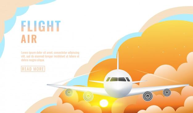 ランディングページ、雲、旅客機、飛行機、観光の概念と空に旅客機が飛んでいるバナー
