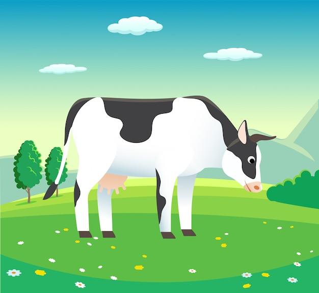 Сельский пейзаж с коровой на лугу, - фоновой иллюстрации для молочных продуктов