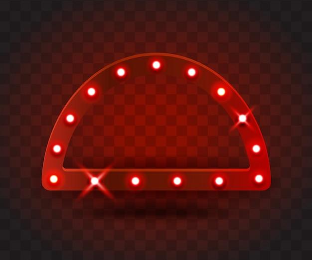 レトロなショー時間アークフレームサイン現実的なイラスト。パフォーマンス、映画、エンターテインメント、カジノ、サーカス用の電球が付いた赤いアークフレーム。透明な背景