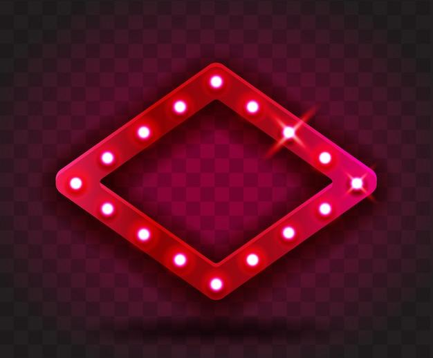 レトロな表示時間菱形フレームサイン現実的なイラスト。パフォーマンス、映画、エンターテイメント、カジノ、サーカス用の電球が付いた赤い菱形フレーム。透明な背景