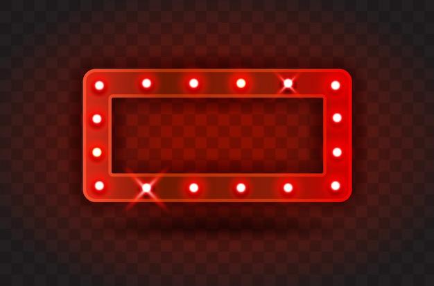 レトロな表示時間長方形フレームサイン現実的なイラスト。パフォーマンス、映画、エンターテイメント、カジノ、サーカス用の電球が付いた赤い長方形のフレーム。透明な背景