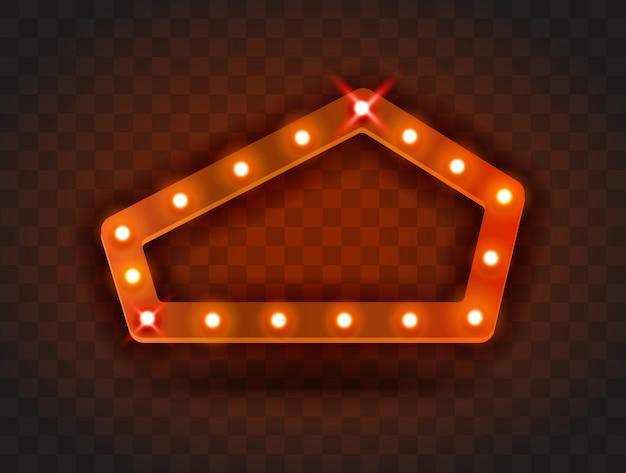 レトロなショータイムペンタゴンフレームサイン現実的なイラスト。パフォーマンス、映画、エンターテインメント、カジノ、サーカス用の電球が付いた赤い五角形フレーム。透明な背景