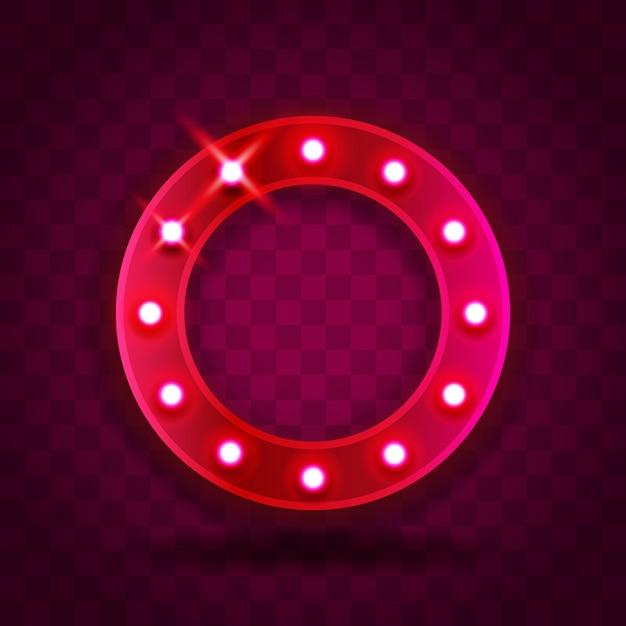 レトロなショー時間サークルフレームサイン現実的なイラスト。パフォーマンス、映画、エンターテインメント、カジノ、サーカスのための電球とピンクの赤いサークルフレーム。透明な背景