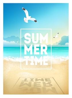 Летний пляж фон с морем, небо, чайки и восход солнца. летний плакат плакат флаер пригласительный билет. лето.