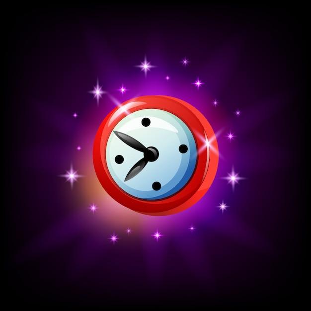 黒い背景にモバイルゲームの時計またはタイマーのアイコン。漫画のスタイル