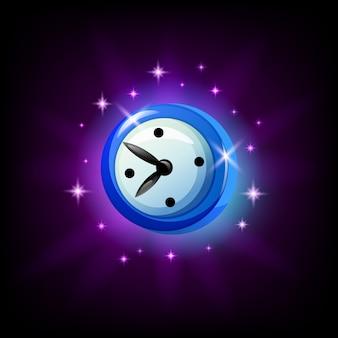 黒い背景にモバイルゲームの時計またはタイマーのアイコン。モバイルアプリ、漫画のスタイルのグラフィックユーザーインターフェイス要素
