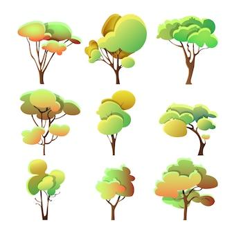 Набор красочных деревьев различной формы с листьями
