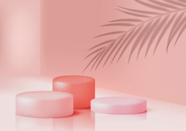 パステルピンク色の製品説明用の表彰台
