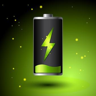 グリーンバッテリー充電-代替エコエネルギー概念。