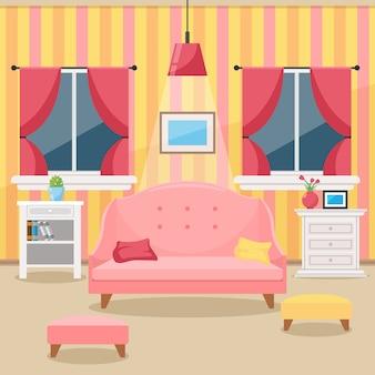 Гостиная с мебелью. уютный интерьер. плоский стиль вектор