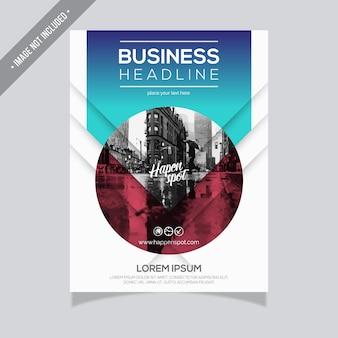 青と白のビジネスパンフレットのデザイン