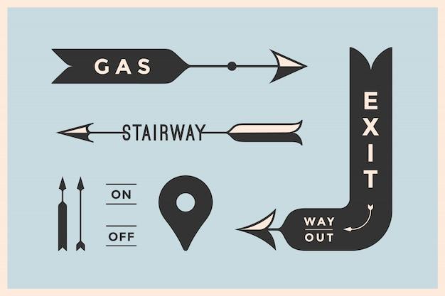 ビンテージの矢印と碑文出口、ウェイアウト、ガス、階段とバナーのセット