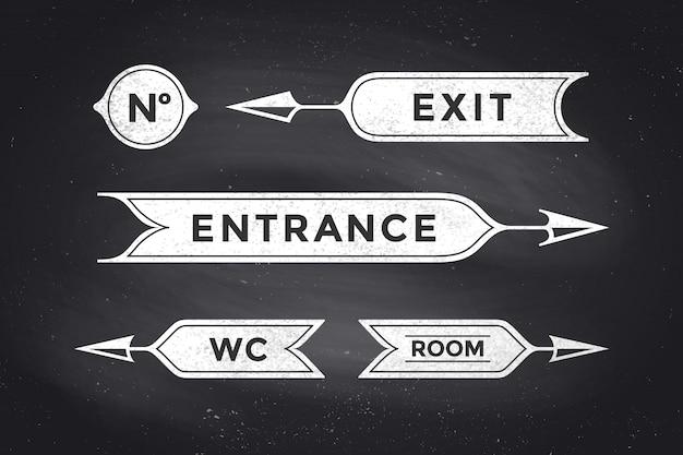 ビンテージの矢印と入り口、出口、部屋、トイレの碑文とバナー