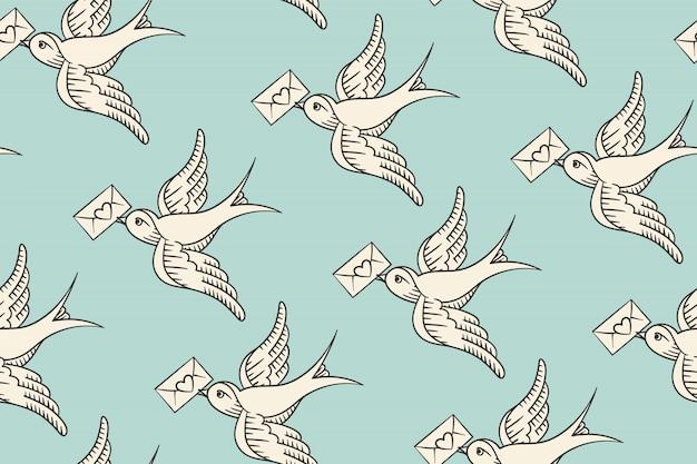 Безшовная картина с птицей старой школы винтажной и почтовым конвертом