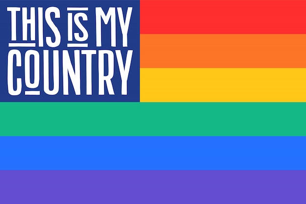 Плакат радуги флаг соединенных штатов америки
