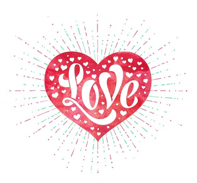 グリーティングカードの赤い水彩心で愛をレタリングの手。手作り書道。ベクトルイラスト。