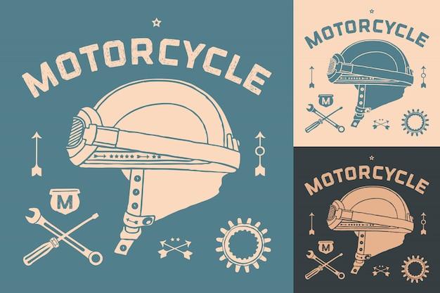 ビンテージレースバイクヘルメットのポスター。レトロな古い学校のセット。ベクトルイラスト。