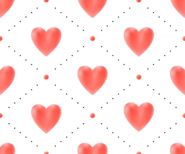 バレンタインデーのための白い背景に赤いハートのシームレスパターン。ベクトルイラスト。