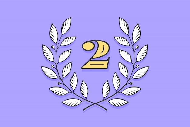 Значок лавровый венок с номером два
