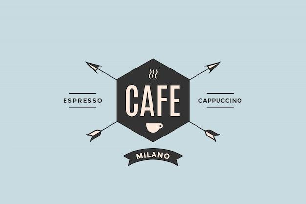 矢印の付いたカフェのロゴ