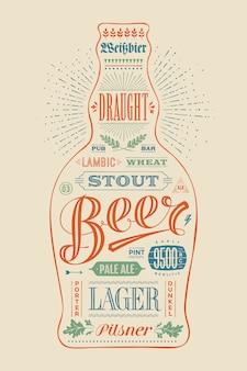 手描きのレタリングとビールのポスターボトル