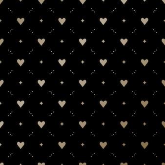 黒の背景に心でシームレスな金パターン