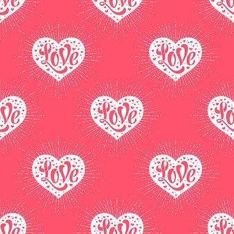 Бесшовные с сердцем и надписью любви
