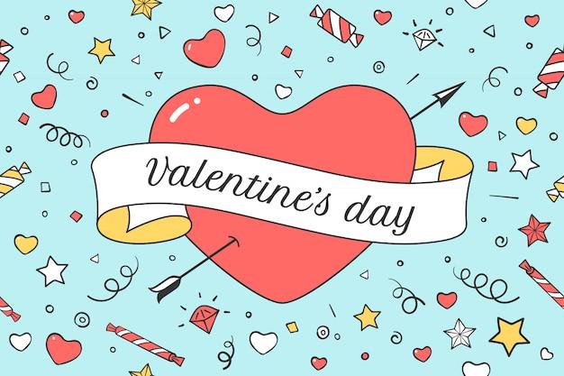Сердце и лента с сообщением день святого валентина