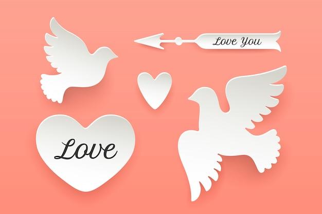紙オブジェクト、ハート、ハト、鳥、矢印のセット