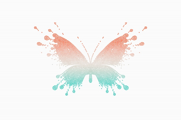 カラフルな赤青緑色の蝶