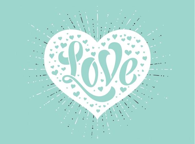 グリーティングカードの背景色が水色に白の心に愛をレタリングの手。